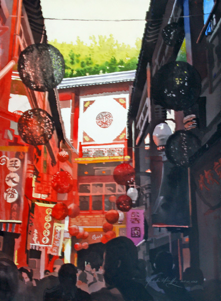 Mark Mehaffey, Shanghai Market, watercolor painting