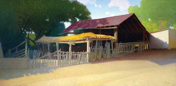 William E. Sharer, Benrimo's Barn, oil, 24 x 48.