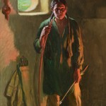 Joseph H. Sharp, Hunting Son, Taos, Firelight and Daylight, oil, 20 x 16. Estimate: $100,000-$200,000.