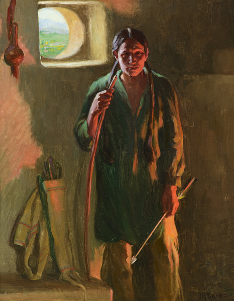 Joseph H. Sharp, Hunting Son, Taos, Firelight and Daylight, oil, 20 x 16. Estimate: $100,000-$200,000.