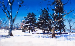 David Shingler, City Park, Denver, Colorado, oil, 30 x 48.