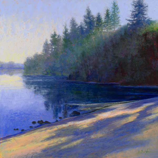 Brenda Boylan, Shoreline Shadows, pastel, 24 x 24.