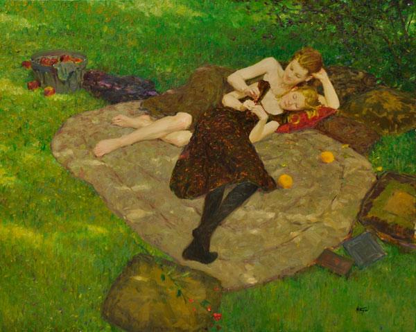 Sisters, oil, 24 x 30.