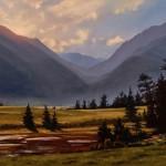 Brian Slawson | Horse Shoe Park, oil, 15 x 30.