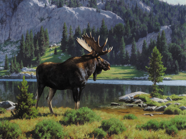 Tucker Smith, Moose at Dean Lake, oil, 30 x 40, from Artistic Horizons.