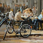 Jon Smith, Cafe With Bicycle, oil, 11 x 14.