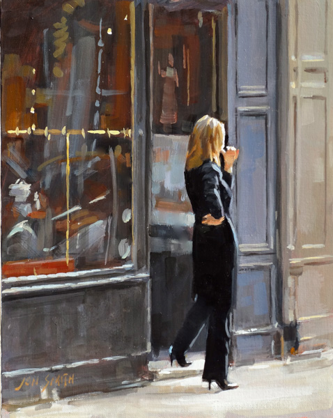 Jon Smith, Shopkeeper in Paris, oil, 14 x 11.