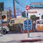 Scott Prior, Smog Shop, oil, 12x16.
