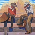 Dennis Ziemienski, Smoke Break, oil, 48 x 60.