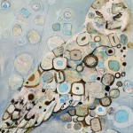 Britt Freda, Snowy Owl: Orienteering With Pieces of a Map and Magnets in a Pocket, mixed media, 12 x 12.