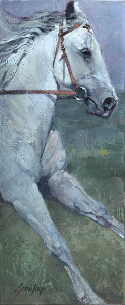 Jill Soukup, Curtailed, oil, 47 x 20.