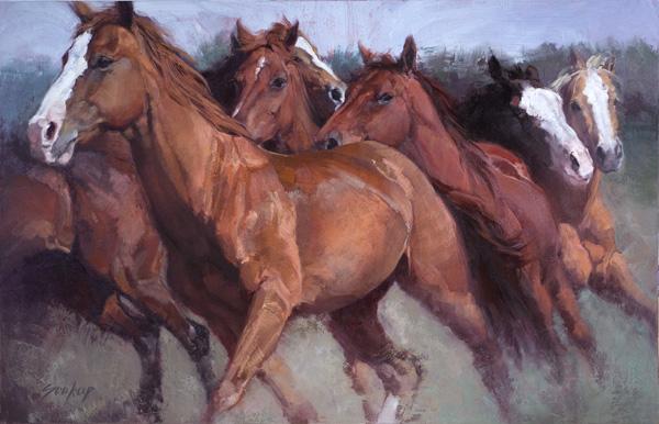 Jill Soukup, Orange Rush, oil, 56 x 88.