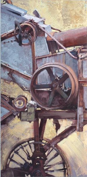 Jill Soukup, Seed Sifter, oil, 48 x 24.