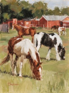 Lindsey Bittner Graham, South Pasture, oil, 12 x 9.