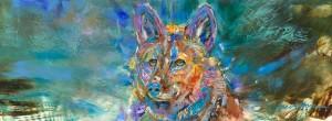 Carol Hagan, Spring Coyote, oil, 8 x 22.