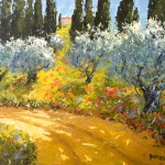 Evelyne Boren, Spring Morning Near San Gimignano, oil, 46 x 50.