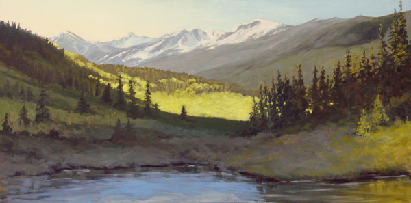 Ginger Whellock, Springtime Sunrise, oil, 12 x 24.