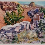 Ralph Nagel, Stacked Stones, watercolor, 30 x 41.