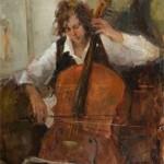 Stacy Kamin, Cello Player, oil, 30 x 24.