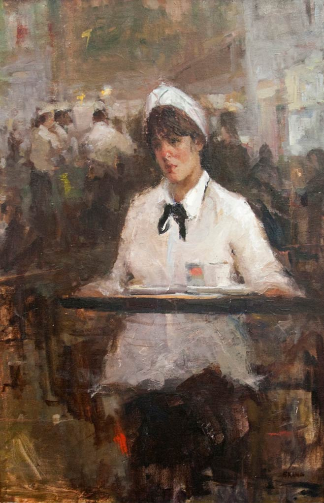 Stacy Kamin, Waitress, oil, 36 x 24.