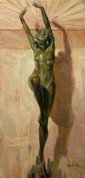 Derek Penix, Statue at Philbrook, oil painting