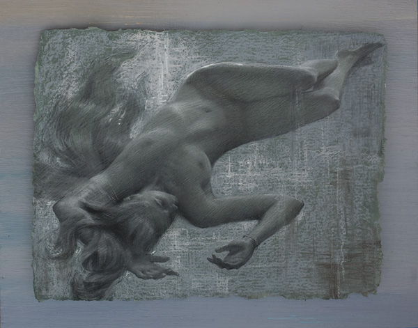 Alexey Steele, Floating Dream 2, charcoal/handmade paper, 15 x 19.