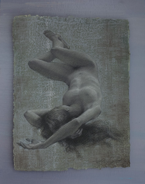 Alexey Steele, Sleep, charcoal/handmade paper, 19 x 15.