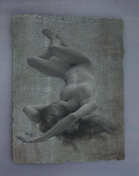 Alexey Steele, Sleep, charcoal/handmade paper, 19 x 15.