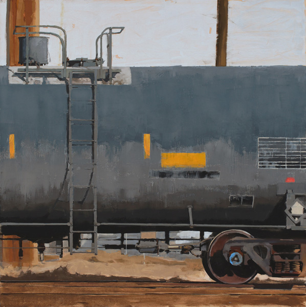 Stephanie Hartshorn, Railcar Patina, oil, 30 x 30.