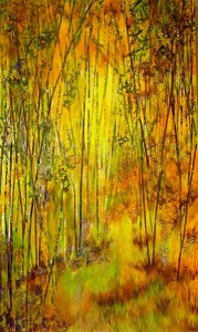 Lelija Roy, Stepping Into September, mixed media, 60 x 36.