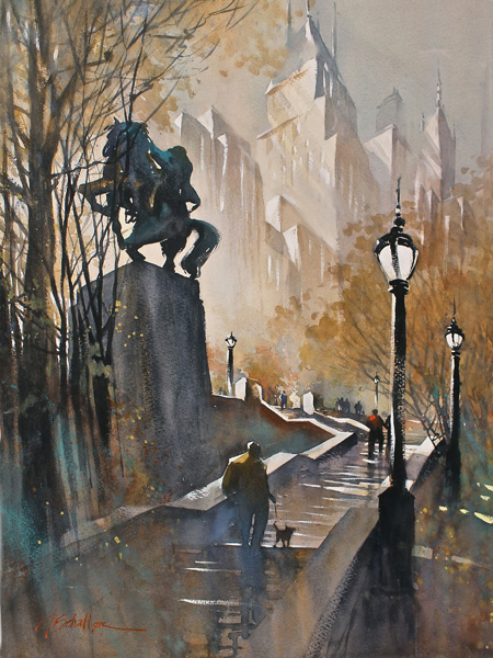 Thomas W. Schaller, Steps to Simon Bolivar, New York City, watercolor, 24 x 18.
