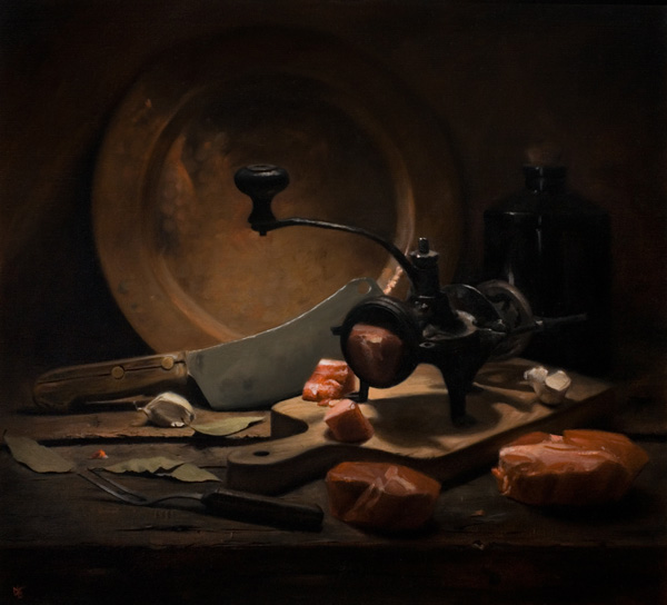 David Gluck, Still Life With Meat, oil, 16 x 18.