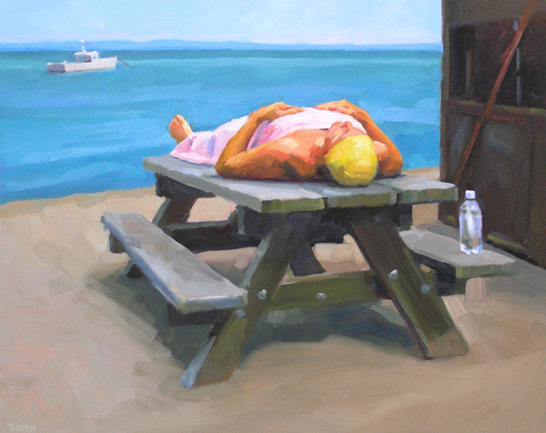 Tim Horn, Still Life With Yellow Cap, oil, 24 x 30.