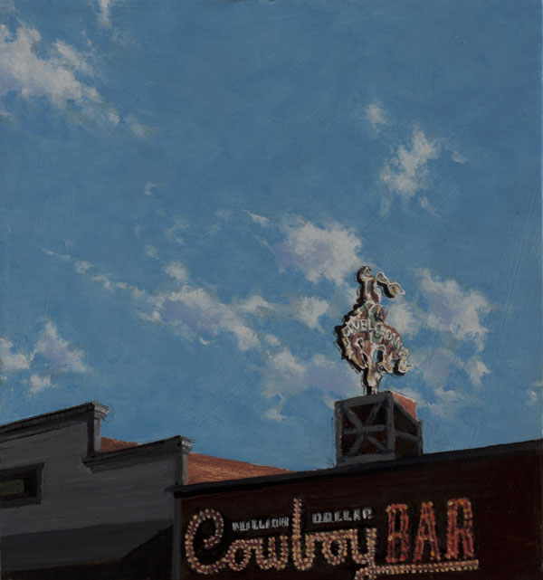 Don Stinson, Wyoming Welcome Sign, oil, 9 x 8.