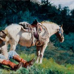 Oleg Stavrowsky, Pebble in the Boot, mixed media western art
