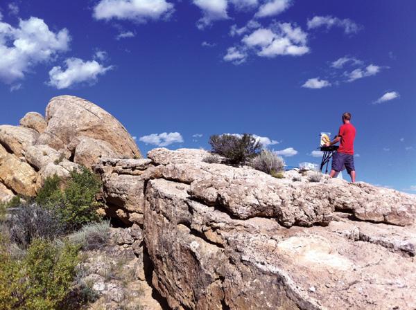 A painter captures southern Utah's rocky terrain.