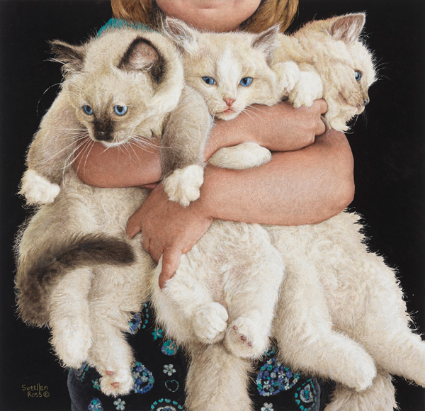 Sueellen Ross, Picks of the Litter, mixed media, 12 x 13.