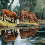 Robert Moore | Summer Cows, oil, 36 x 48.