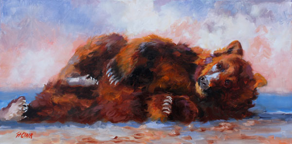 Linda St. Clair, Sunbather, oil, 15 x 30.