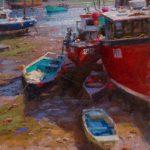 Ned Mueller, Sunday Morning, Mevagissey, England, oil, 12 x 10.