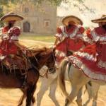 Gladys Roldan-de-Moras, Sunday Riding at Mission San Jose, oil, 36 x 48.