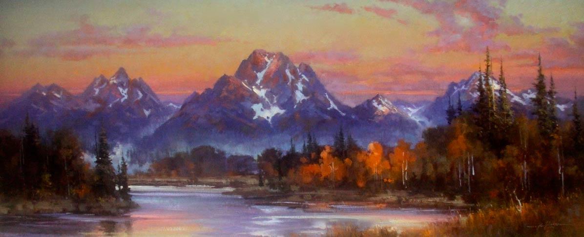 Kirk Randle, Sunrise at Oxbow, Jackson Hole , oil, 30 x 70.