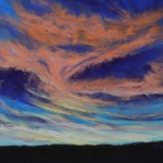 Susan Larson, Another Bronco Sunset, pastel, 9 x 12.