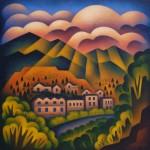 Sushe Felix, Manitou Sunset, acrylic, 24 x 24.