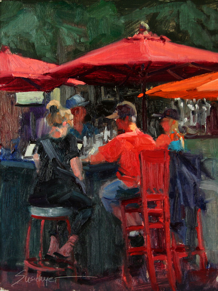 Susiehyer, Conversation, oil, 12 x 9.