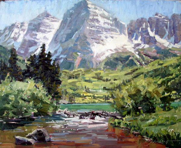 Susiehyer, Maroon Bells Afternoon, oil, 16 x 20.