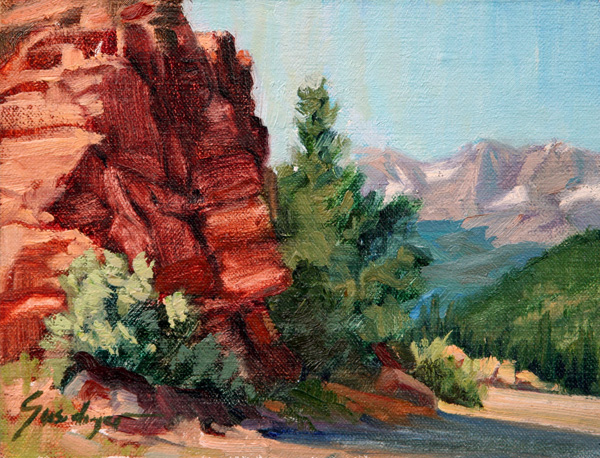 Susiehyer, Rocks of Rockies, oil, 6 x 8.