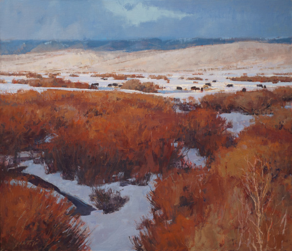 John Taft, Winter Grazers, oil, 36 x 42.