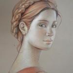 Olga & Aleksey Ivanov, Terracotta, graphite/pastel pencil, 15 x 11