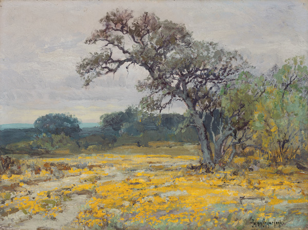 Julian Onderdonk, Coreoposis, Near San Antonio, Texas, 1919, oil, 9 x 12.